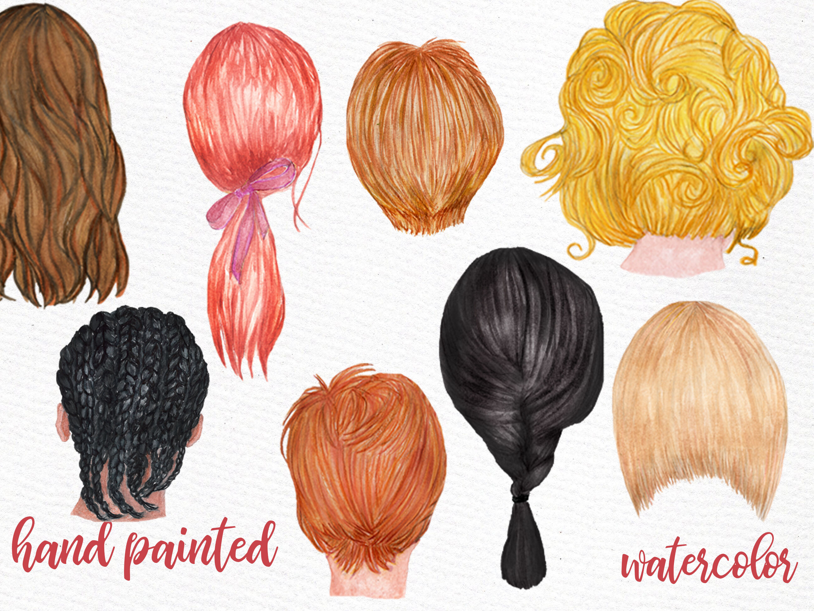 Watercolor hair clipart png black and white download Hairstyles clipart Custom hairstyle Watercolor hair styles ... png black and white download