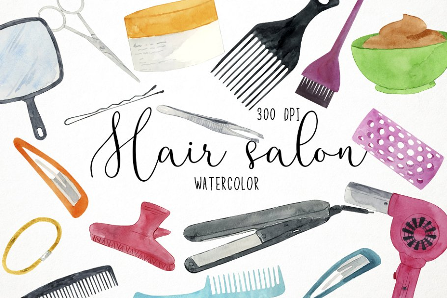 Watercolor hair clipart clip art library Watercolor Hair Salon Clipart ~ Illustrations ~ Creative Market clip art library
