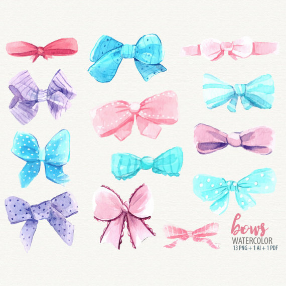 Watercolor hair clipart vector stock Watercolor bow, bow clip art, pink aqua bows, watercolor ... vector stock