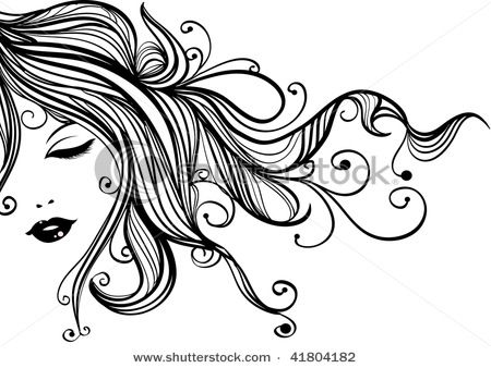 Watercolor hair clipart trans clip art black and white stock Pin by Sharlene Moore on g | Salon art, How to draw hands ... clip art black and white stock