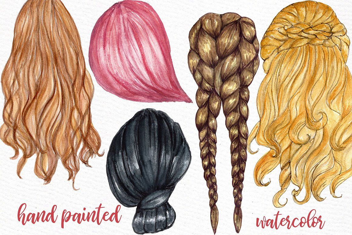 Watercolor hair clipart clipart download Watercolor Hairstyles clipart #Ad , #Sponsored, #designs ... clipart download
