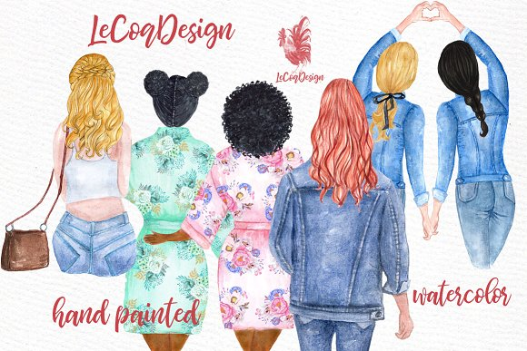 Watercolor hair styles clipart png Watercolor Hairstyles clipart png