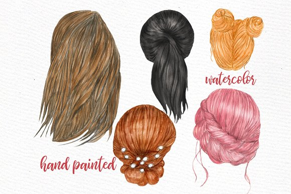 Watercolor hair styles clipart png free stock Hairstyles clipart Custom hairstyles png free stock