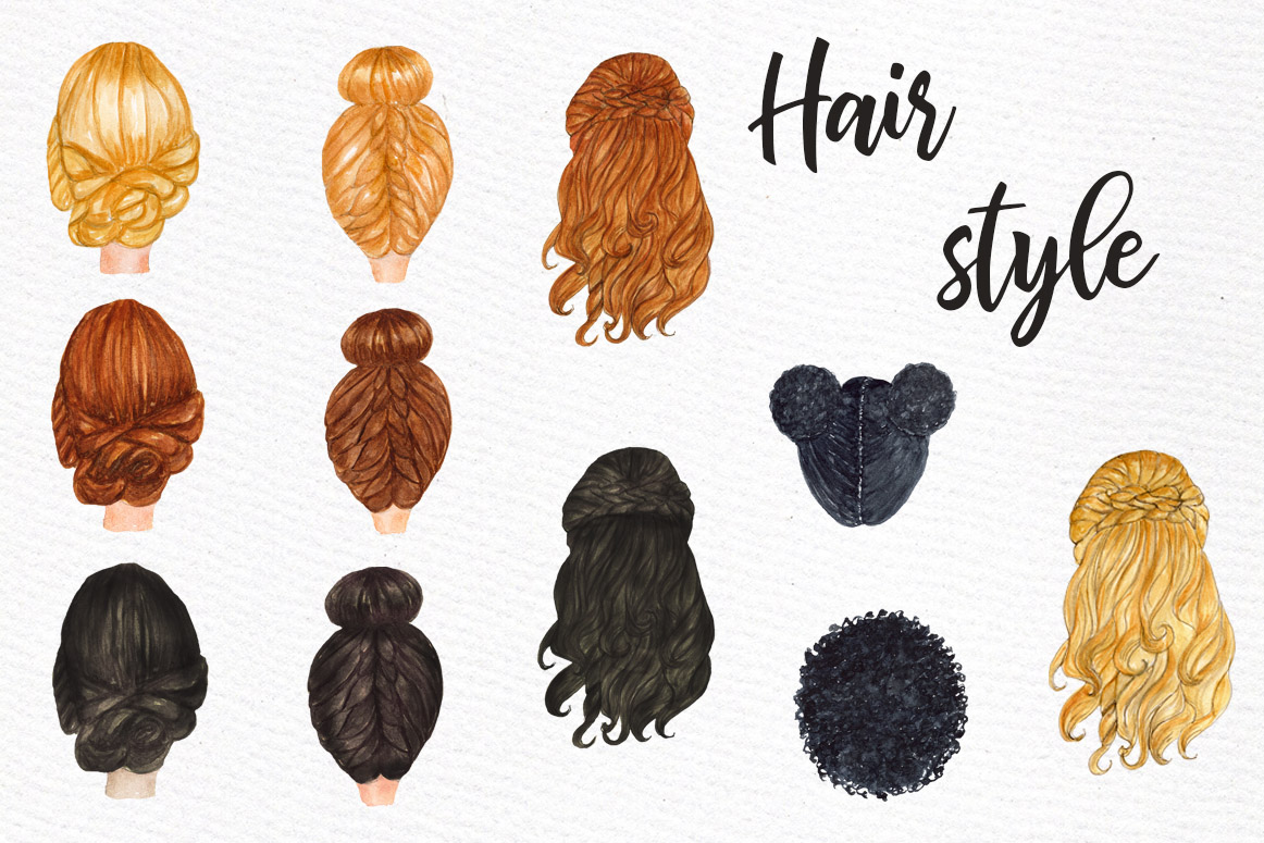 Watercolor hair styles clipart clip black and white library Bridesmaid Wedding Robes clipart, Watercolor Bride clipart clip black and white library
