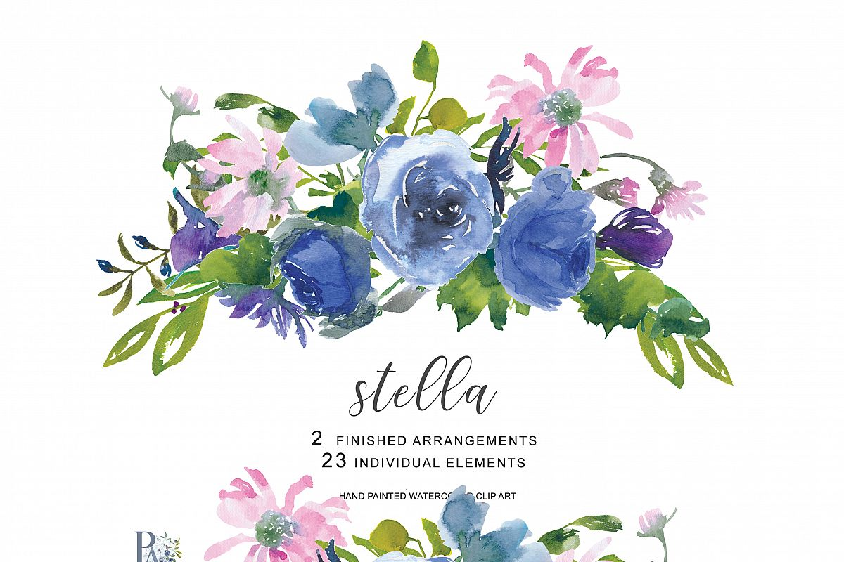Watercolor hand painted flowers clipart free download Hand Painted Watercolor Wedding Flowers Clip Art free download