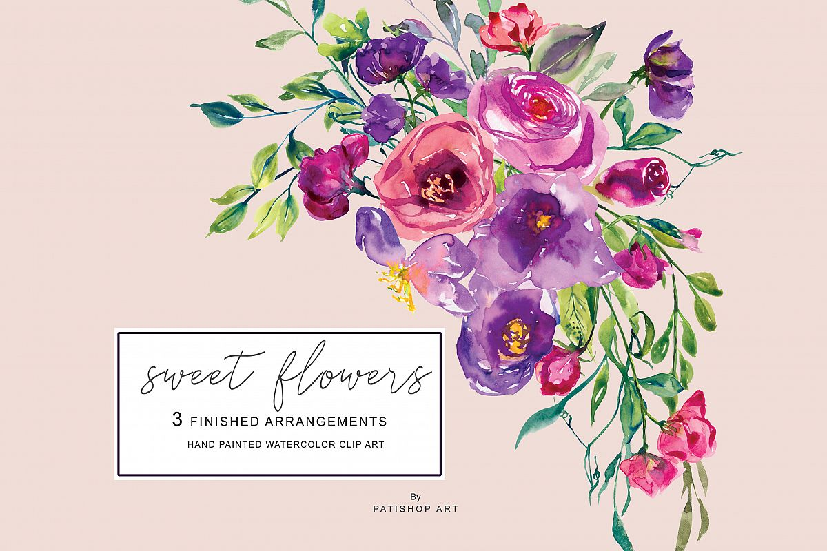 Watercolor hand painted flowers clipart clipart free stock Watercolor Purple Burgundy and Red Flowers Arrangements Clipart Sweet Pea  Hand Painted Flowers clipart free stock