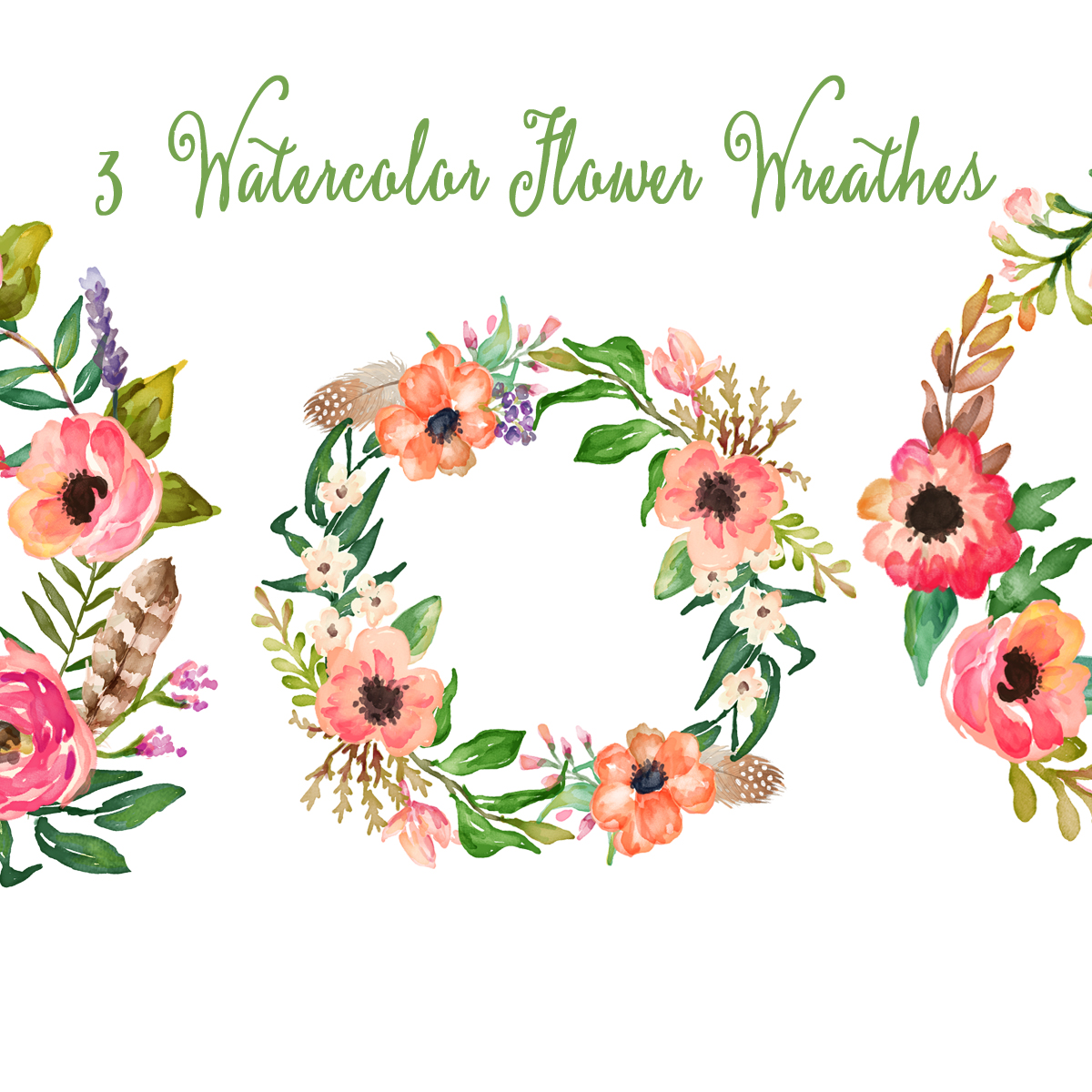 Watercolor hand painted flowers clipart clip art transparent Watercolor Hand Painted Floral Frames Clipart: clip art transparent