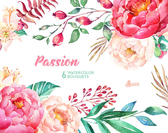 Watercolor hand painted flowers clipart picture royalty free Passion 6 Watercolor Bouquets, hand painted clipart, peonies ... picture royalty free