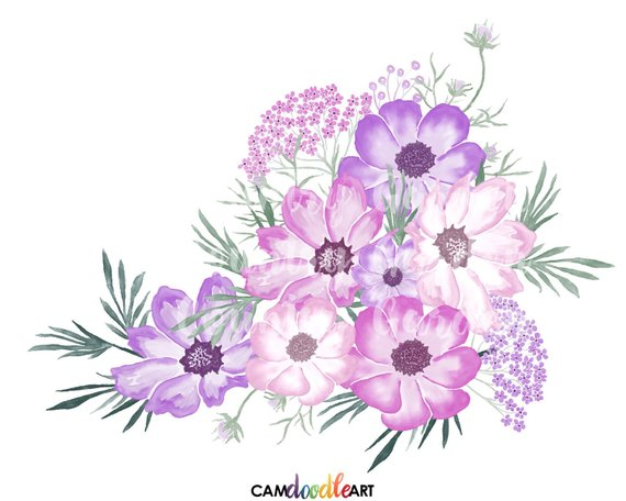 Watercolor hand painted flowers clipart jpg transparent Pink and Purple Watercolor Flowers Clipart Set,Hand Painted ... jpg transparent