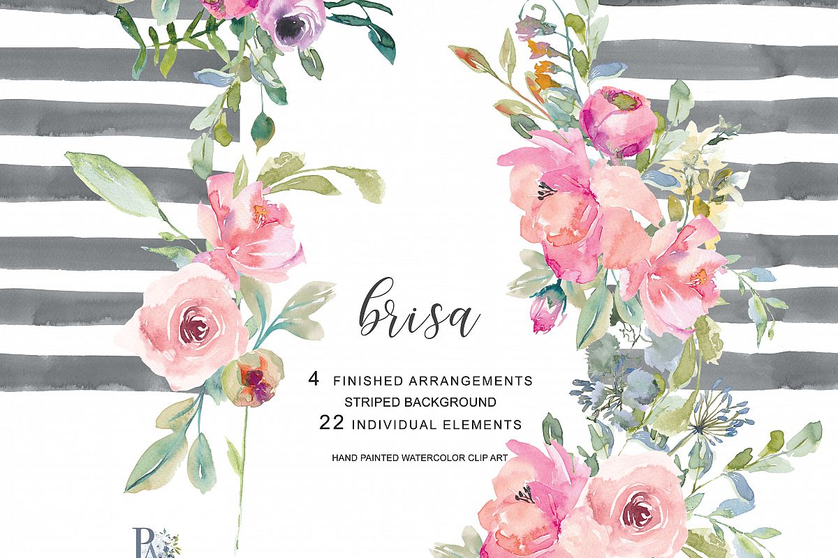 Watercolor hand painted flowers clipart png free stock Hand Painted Watercolor Blush Pink Flowers Clipart png free stock