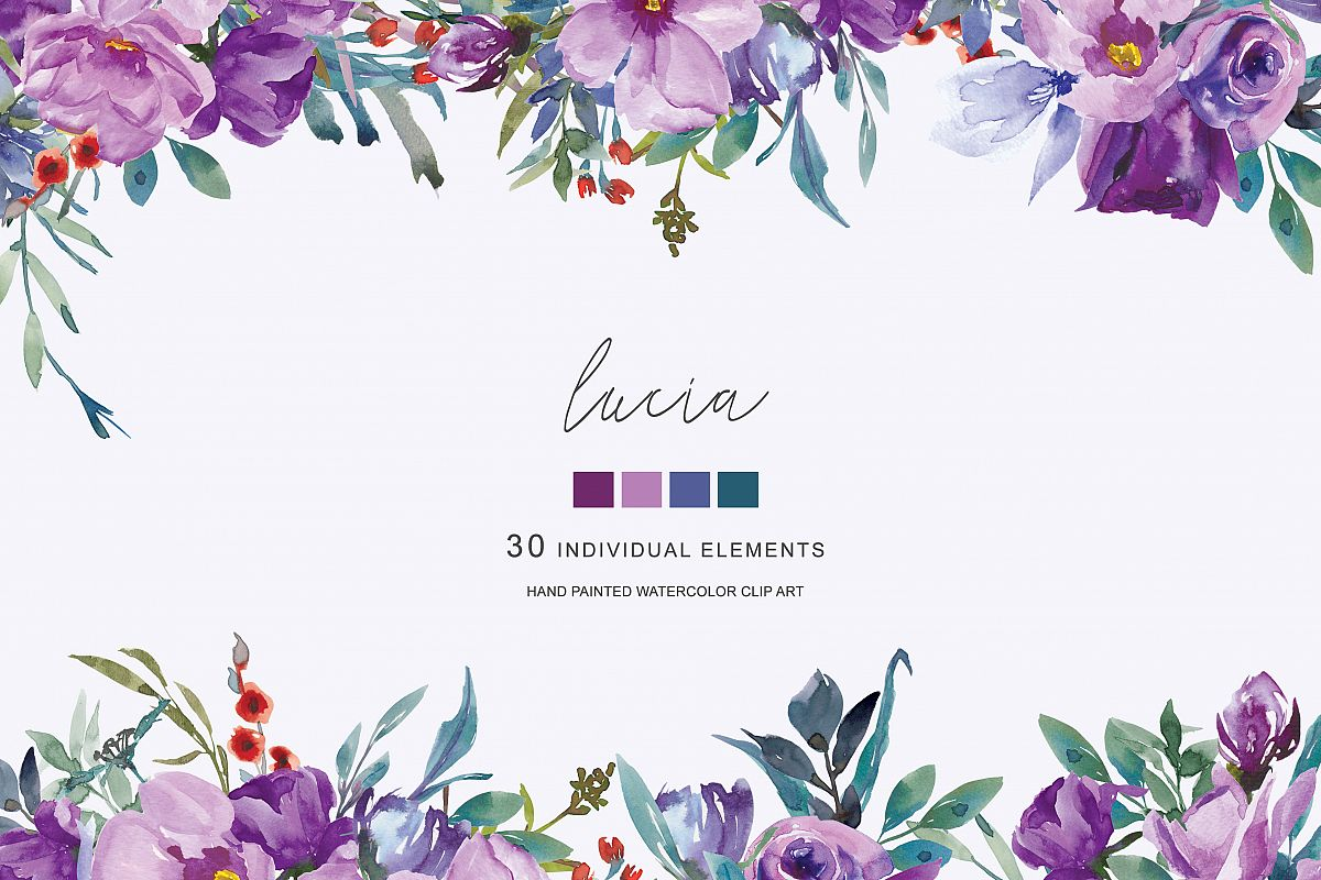 Watercolor hand painted flowers clipart clip royalty free Watercolor Purple Flowers Clipart Hand Painted Flowers clip royalty free