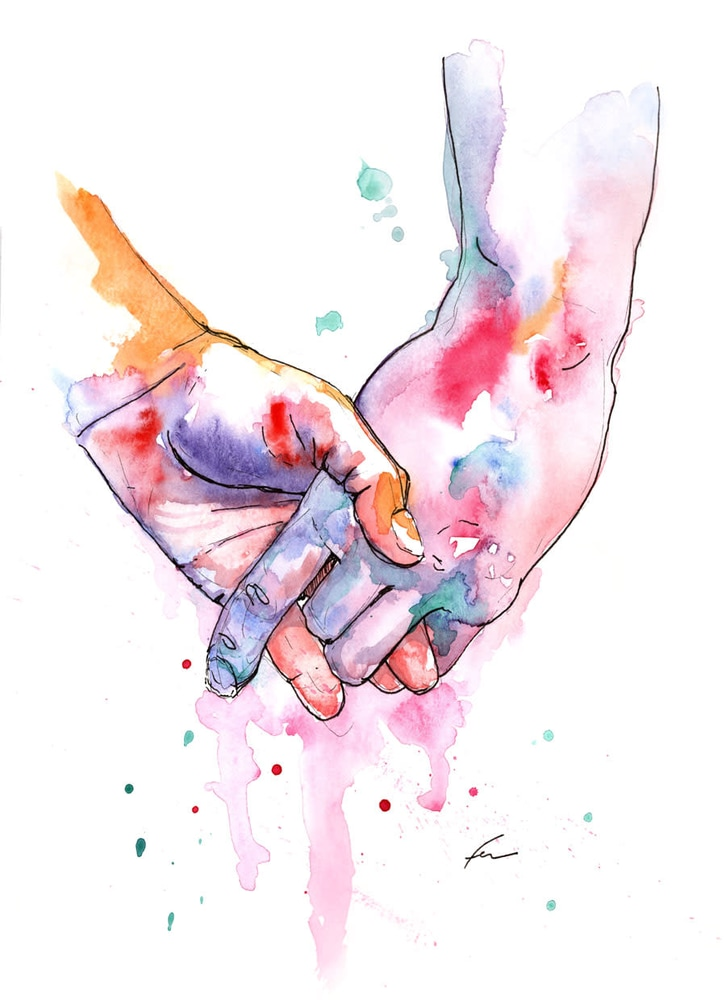 Watercolor hands clipart clipart black and white download Holding Hands Study 5 clipart black and white download