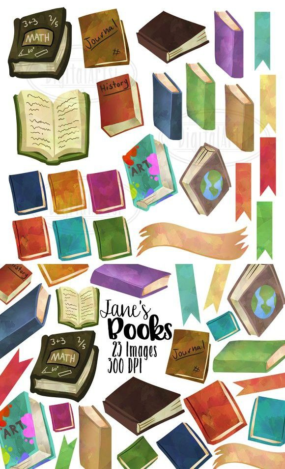 Watercolor history clipart png library stock Watercolor Books Clipart   Education Design   Watercolor ... png library stock