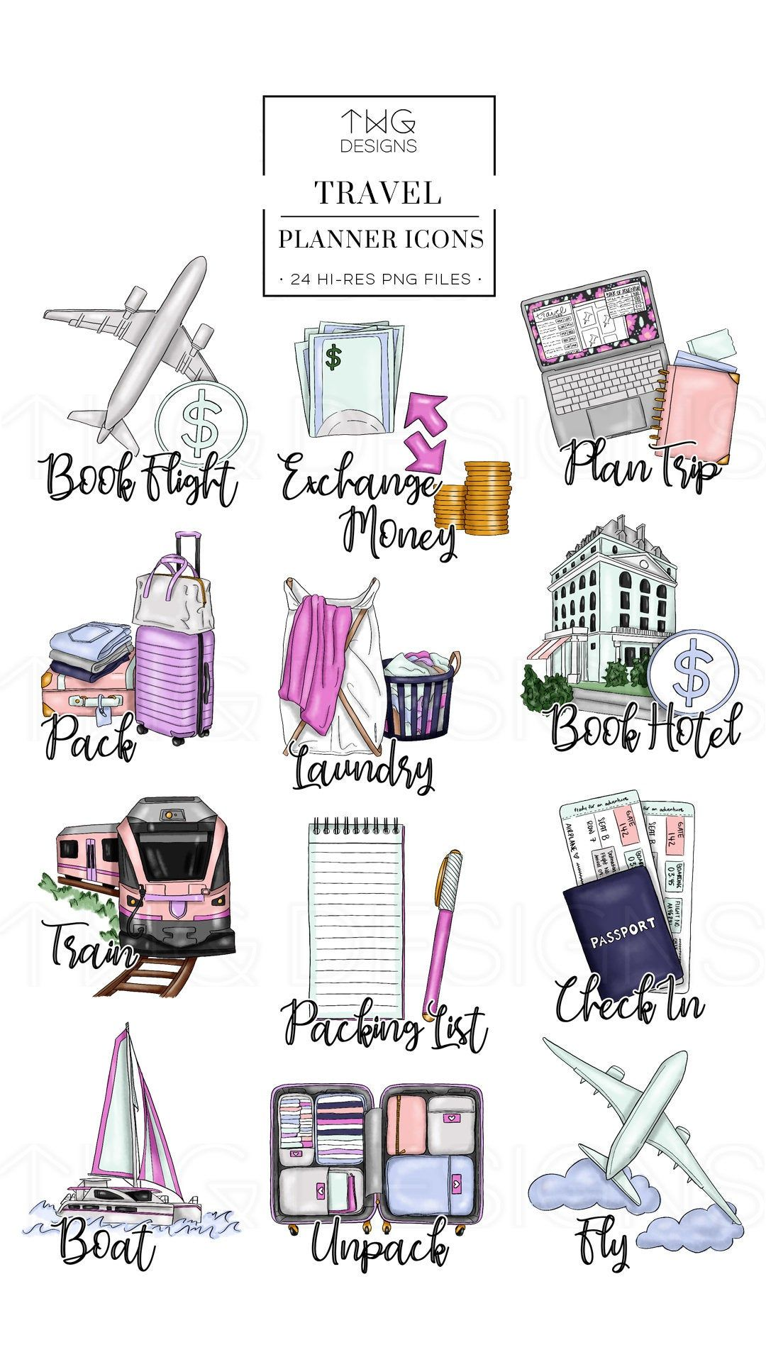 Watercolor laundry linen clipart jpg library stock Travel Planner Icons Clip Art Clipart Watercolor Hand Drawn ... jpg library stock