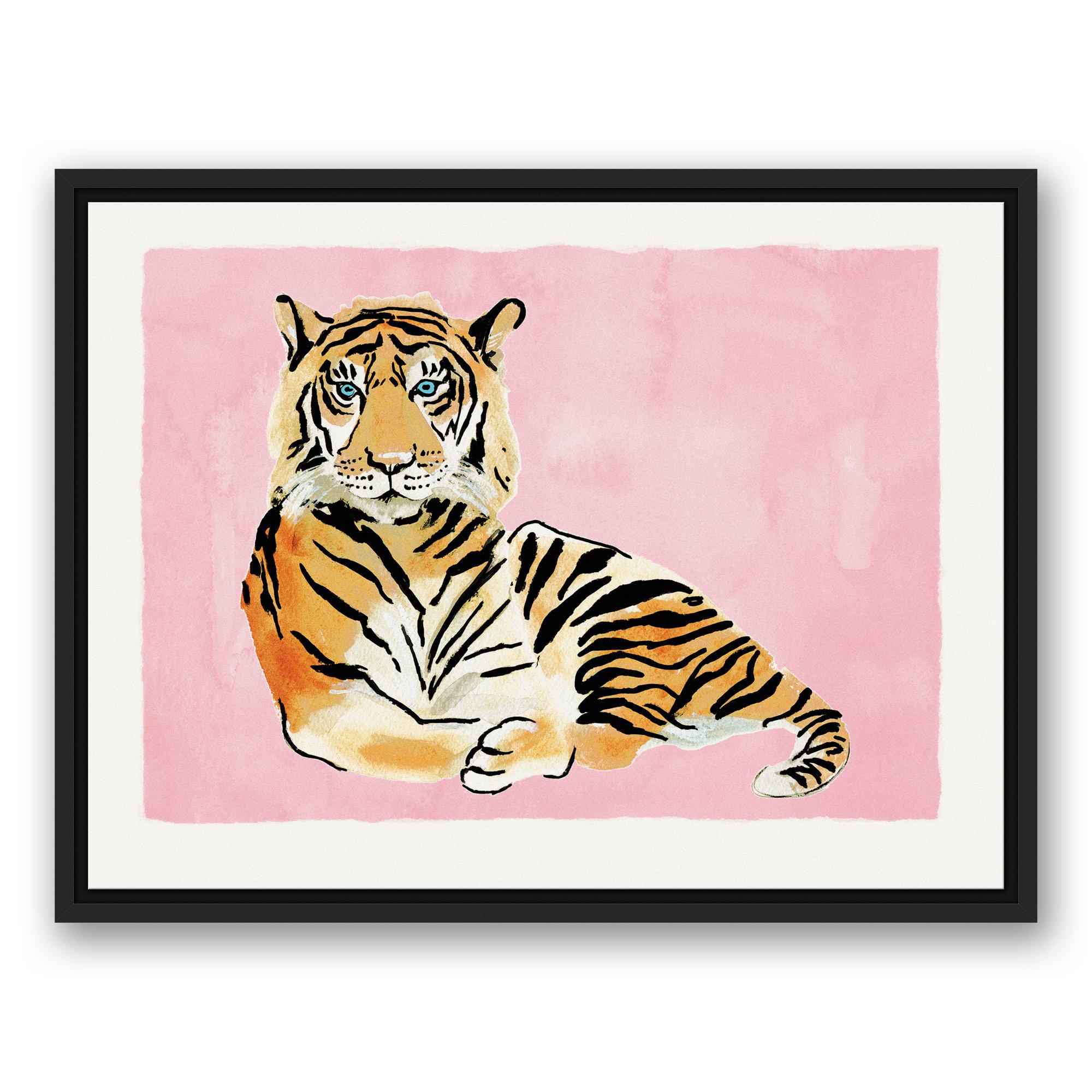 Watercolor laundry linen clipart image transparent download \'Tiger on Pink Background\' Framed Watercolor Painting Print on Canvas image transparent download