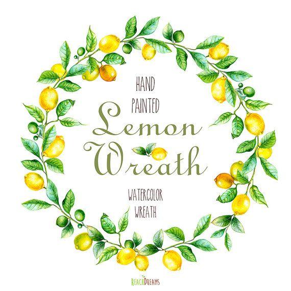 Watercolor lemon wreath free clipart png