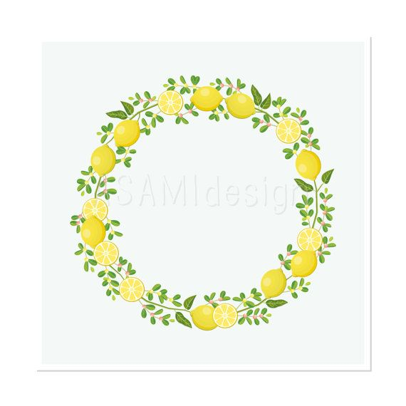 Watercolor lemon wreath free clipart png picture black and white download 17 Best images about lemon on Pinterest picture black and white download