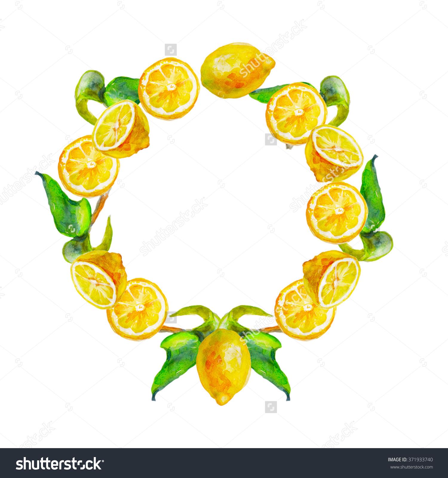 Watercolor lemon wreath free clipart png vector freeuse library Frame Ripe Lemons Watercolor Lemon Wreath Stock Illustration ... vector freeuse library