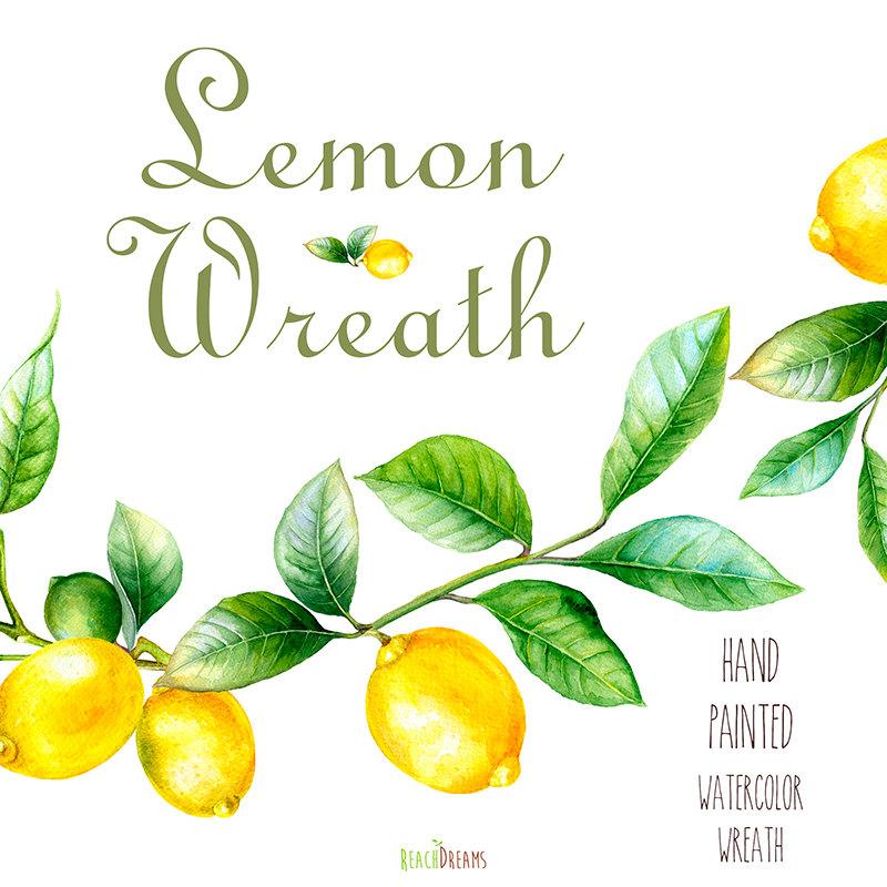 Watercolor lemon wreath free clipart png clip library download Watercolor lemon wreath free clipart png - ClipartFest clip library download