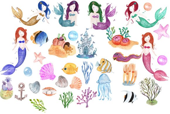 Watercolor mermaid clipart png download Watercolor Mermaids clip art png download
