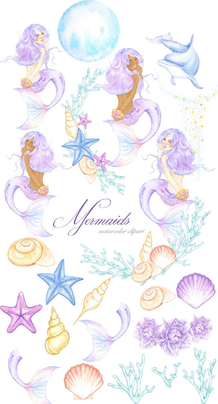 Ocean illustration clipart png royalty free stock Watercolor Mermaid Clipart, Magic Ocean Illustration, Summer ... png royalty free stock