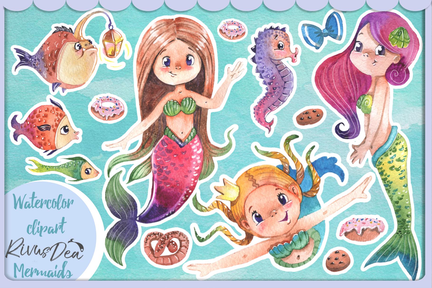 Watercolor mermaid clipart vector library Watercolor mermaid clipart set vector library