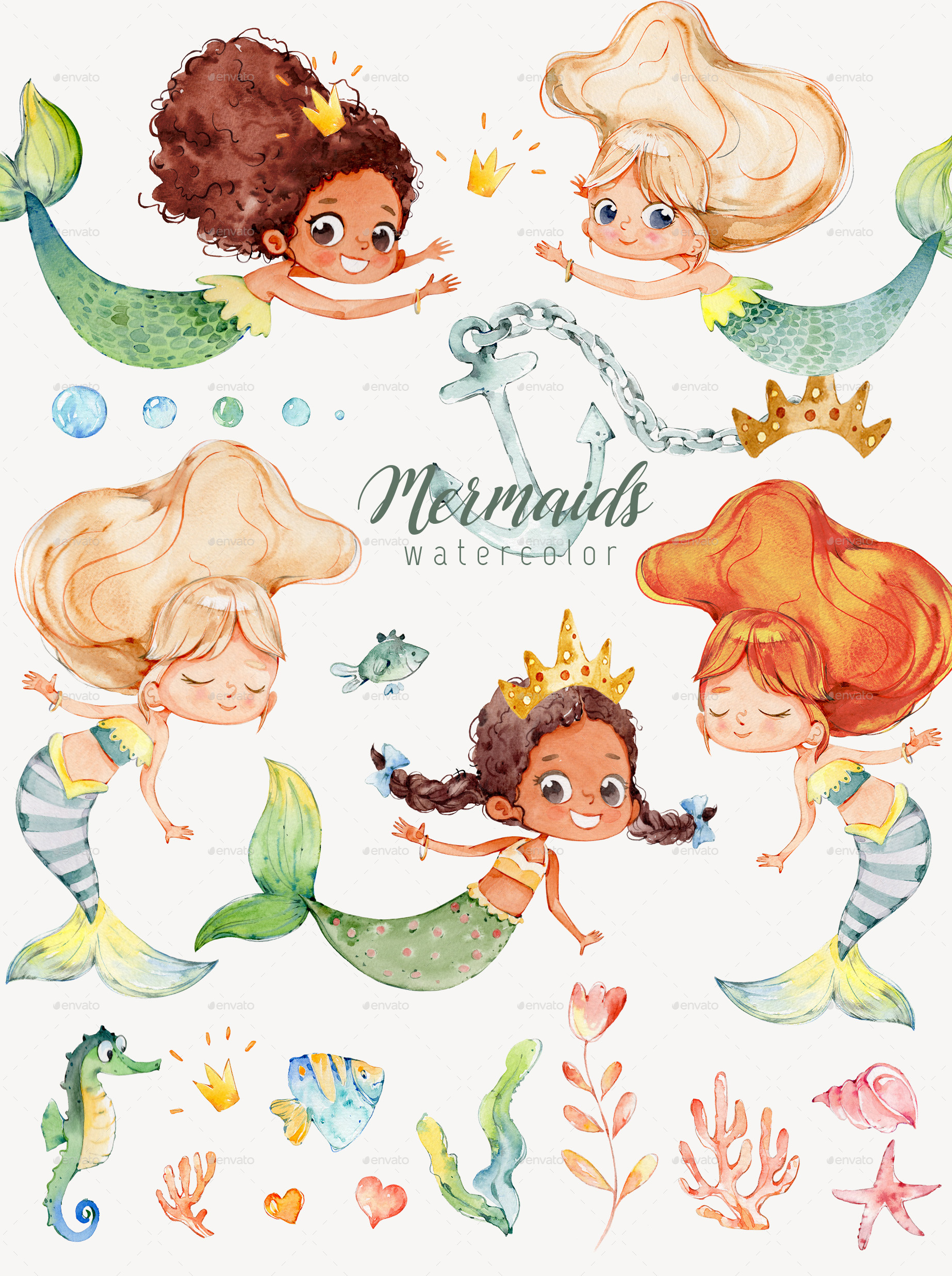 Watercolor mermaid clipart vector transparent library Watercolor Mermaids PNG vector transparent library