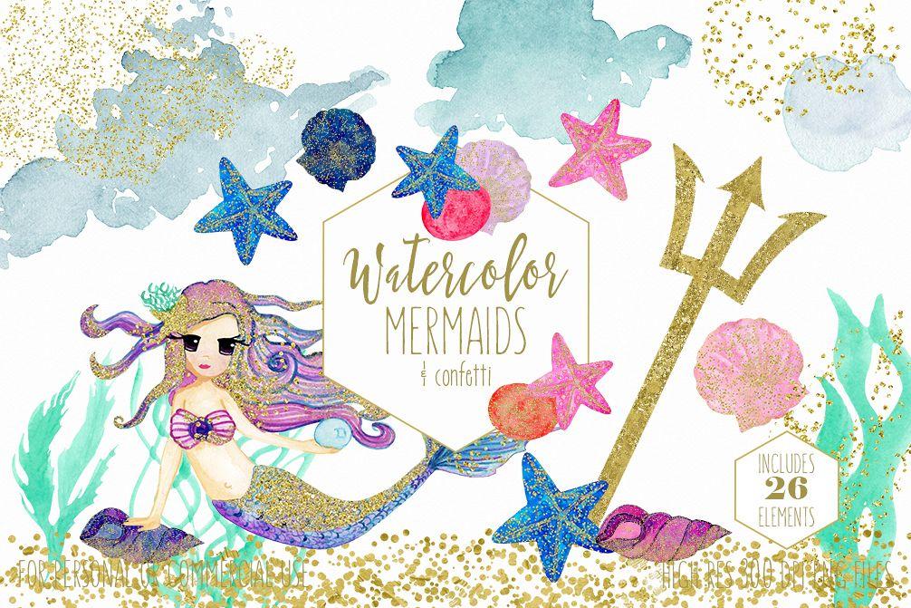 Watercolor mermaid clipart vector transparent stock WATERCOLOR MERMAID Clipart with Metallic Gold Confetti Mermaids Shells  Starfish Ocean Watercolour Splash Graphics vector transparent stock