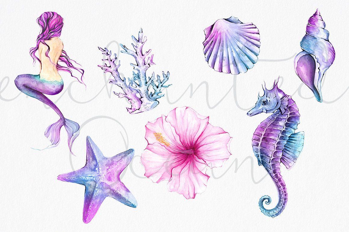 Watercolor mermaid clipart vector black and white Mermaid Clipart Watercolor Sea Underwater Illustration ... vector black and white