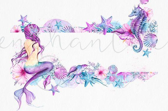 Watercolor mermaid clipart clip stock Mermaid Clipart Watercolor Sea Underwater Illustration ... clip stock