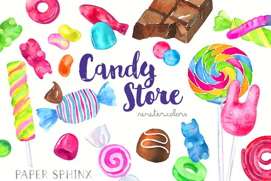 Window candy clipart picture freeuse Watercolor Candy Shop Clipart picture freeuse