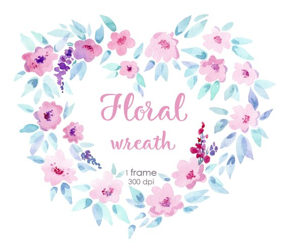 Watercolor mothers day wreath clipart image free Watercolor floral wreath heart clipart - Perfect printable ... image free