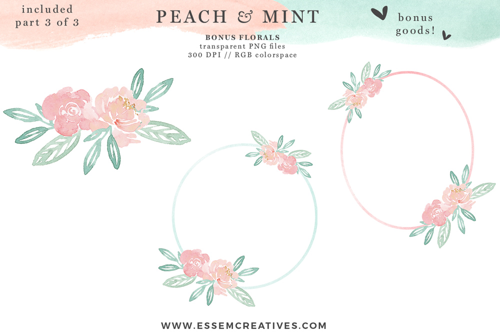 Watercolor mothers day wreath clipart picture transparent library Peach and Mint Watercolor Splash Swash Splatters Clipart | Mothers Day picture transparent library