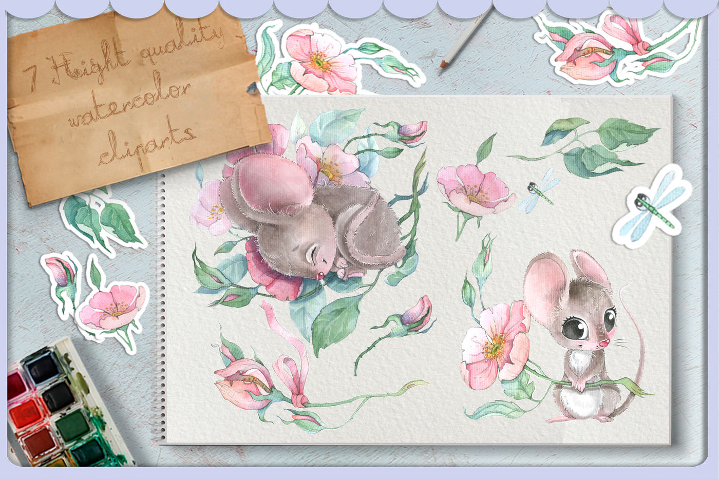 Watercolor mouse clipart vector transparent download Watercolor cute mouse and wild rose flowers clipart set By ... vector transparent download