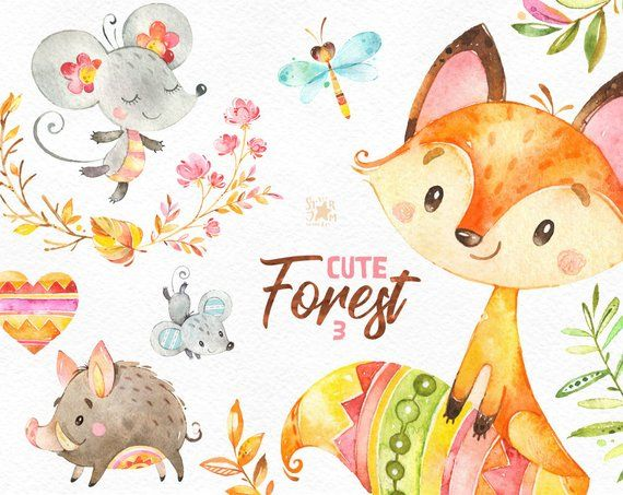 Watercolor mouse clipart vector black and white download Cute Forest 3. Watercolor little animals clipart, fox, mouse ... vector black and white download