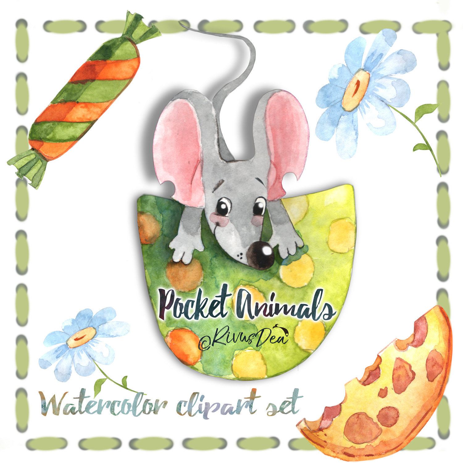 Watercolor mouse clipart royalty free Watercolor mouse clipart set royalty free