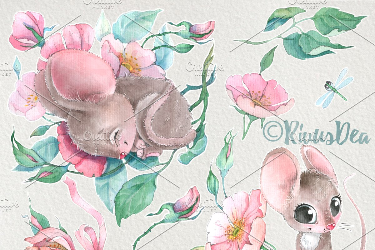 Watercolor mouse clipart picture black and white stock Cute watercolor Mouse clipart set picture black and white stock