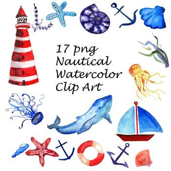 Watercolor nautical clipart png stock Nautical Watercolor Clip Art png stock