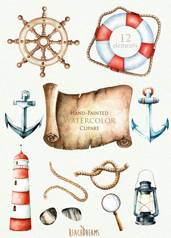 Watercolor nautical clipart picture free download Nautical watercolor clipart. Marine. Ocean. Individual PNG ... picture free download