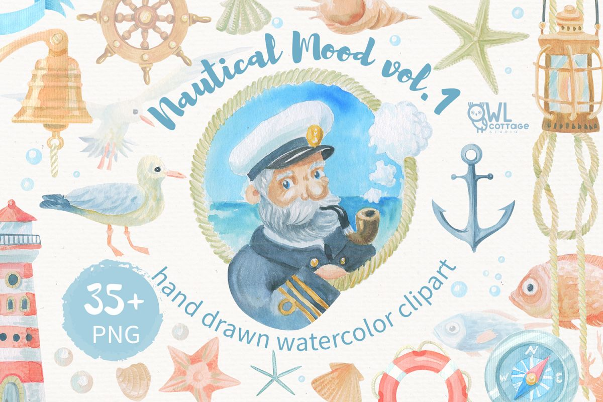 Watercolor nautical clipart image royalty free library Nautical watercolor clipart collection image royalty free library