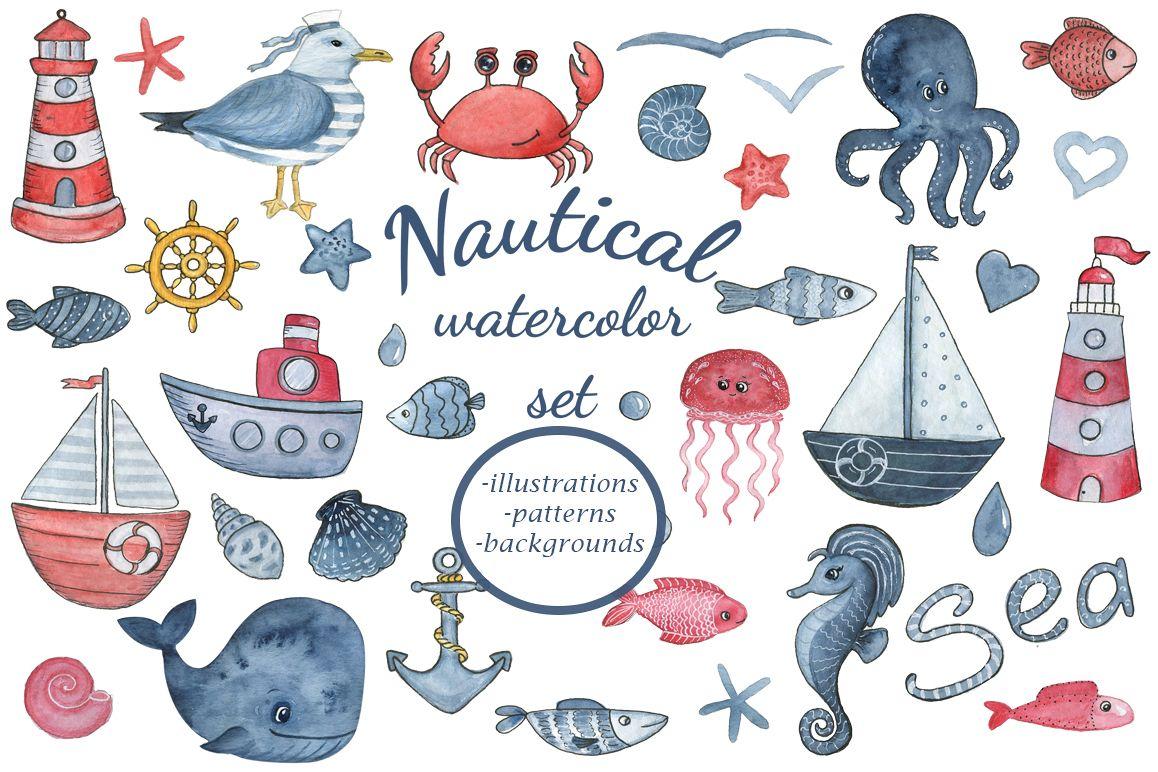 Watercolor nautical clipart clip stock Sea dreams. Nautical watercolor set. Sea Clipart Collection clip stock