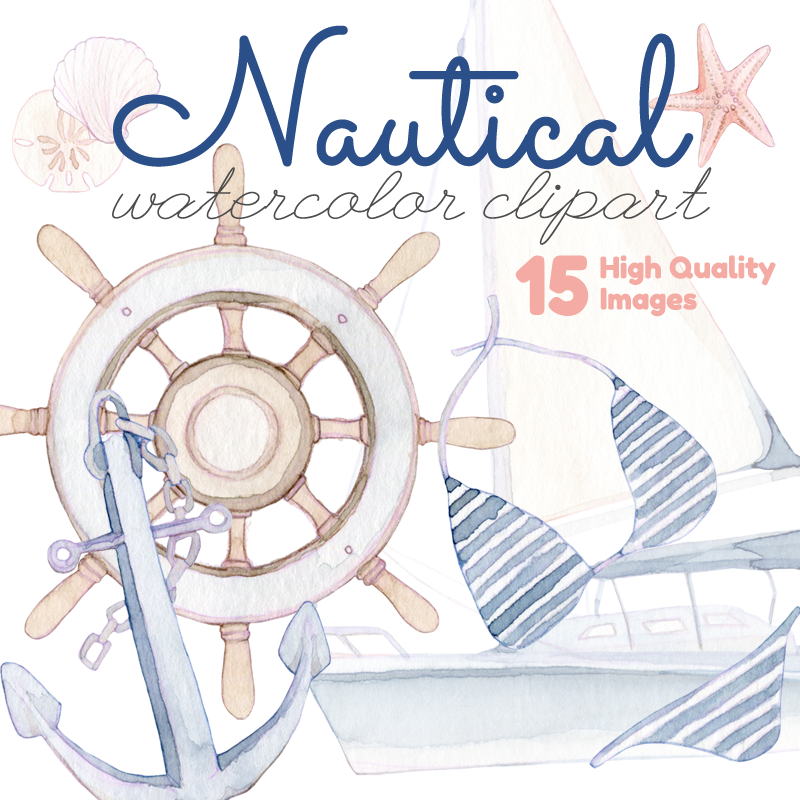 Watercolor nautical clipart svg library download Nautical Watercolor Clipart svg library download