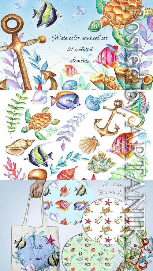 Watercolor nautical clipart png CM - Nautical watercolor clipart set 2028373 » NitroGFX ... png