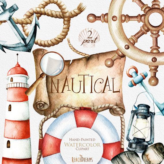 Watercolor nautical clipart svg Nautical watercolor clipart. Marine. Ocean. Individual PNG ... svg