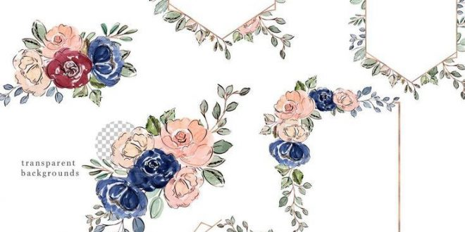 Watercolor blush and navy flowers clipart clip art library download Blush and Navy Watercolor Flowers Clipart, Floral Clipart ... clip art library download