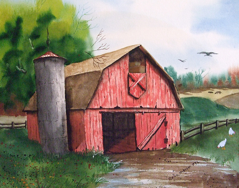 Watercolor old barn clipart clipart stock Red Barn Watercolor at PaintingValley.com | Explore ... clipart stock