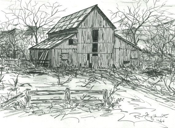 Watercolor old barn clipart clip art freeuse library Pencil sketches of Old Barns. Drawings of old by ... clip art freeuse library