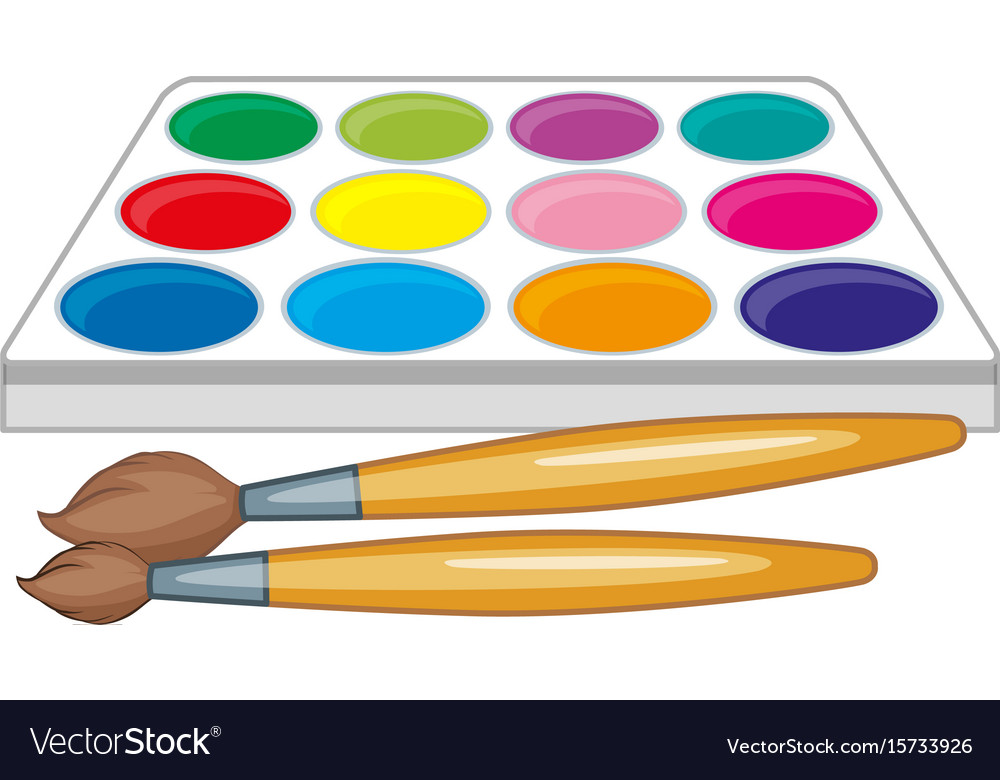 Watercolor palette clipart free clipart freeuse Watercolor palette and two paintbrushes clipart freeuse