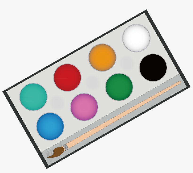 Watercolor pallet clipart clipart black and white stock Paintbrush Clipart Painting Material - Watercolor Palettes ... clipart black and white stock