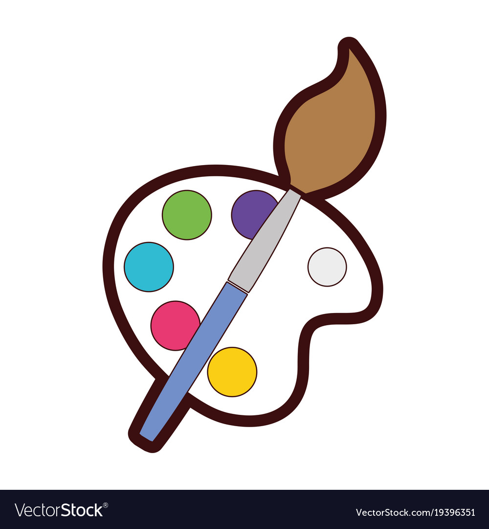 Watercolor pallet clipart picture download Full color watercolor palette with paint brush picture download